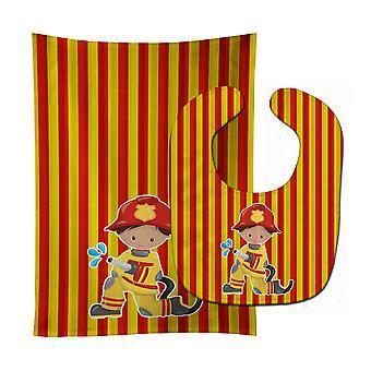 Carolines skarby BB6995STBU strażak Boy Baby Bib & Burp tkanina