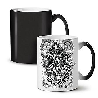 Colossus Warrior NEW Black Colour Changing Tea Coffee Ceramic Mug 11 oz | Wellcoda