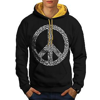 Peace Hippy Vintage Men Black (Gold Hood)Contrast Hoodie | Wellcoda