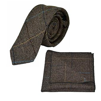 Luxe Walnut bruin Herringbone Check Tie & zak plein Set, Tweed