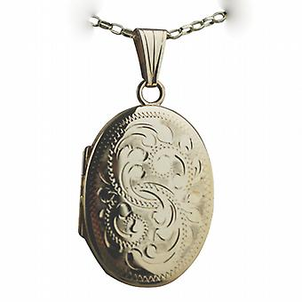 9ct Gold 27x20mm oval hand engraved Miraculous Medal Locket with a belcher Chain 24 inches
