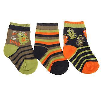 Baby jongens geassorteerde Dinosaur/Dragon Design sokken (pak van 3)