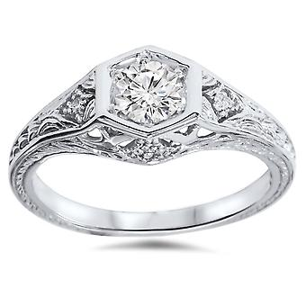 3 / 8ct Art Deco Diamond Engagement Ring 14K White Gold