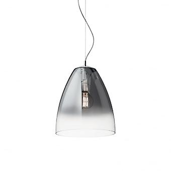 Ideal Lux Audi Chrome And Smoked Glass Dome Pendant Light