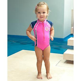 Jakabel Girls UV Capped Sleeve Swimsuit - Pink