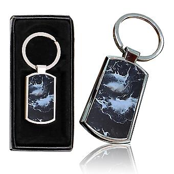 i-Tronixs - Premium Marble Design Chrome Metal Keyring with Free Gift Box (2-Pack) - 0056