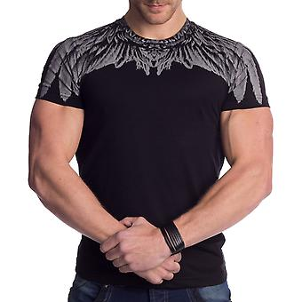 Mens T-Shirt Short Sleeved Printed Feather Slim Tee Crew Neck Summer Black White