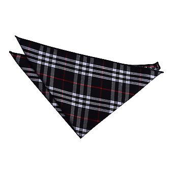 Black & White with Red Tartan  Pocket Square