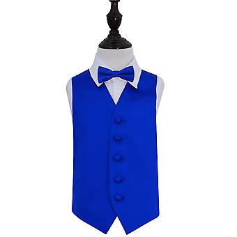 Gilet in raso da Sposa Royal Blu Plain & Bow Tie Set per i ragazzi