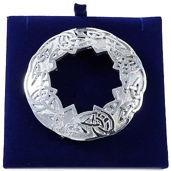 Celtic Knotwork Large Plaid Pewter Brooch
