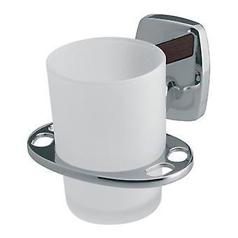 Enda härdat glas Cup + tandborste hål grepp modernt badrum kromade Zamak