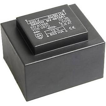 Gerth PT481201 PCB mount transformer 1 x 230 V 1 x 12 V AC 10 VA 833 mA