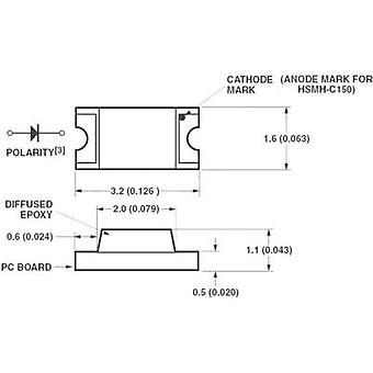 Broadcom HSMA-C150 SMD LED 1206 Amber 90 mcd 170 ° 20 mA 1.9 V Tape cut