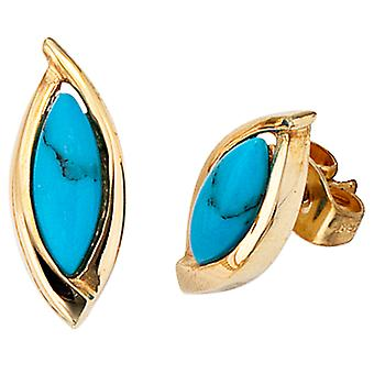 Earrings turquoise 585 Gold Yellow Gold 2 turquoise earrings gold gemstone earrings