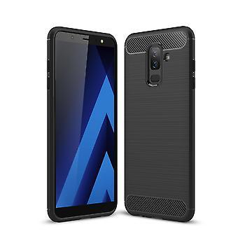 Samsung Galaxy A6 Plus 2018 Hülle Silikon Schwarz Carbon Optik Case TPU Handyhülle Bumper 211772