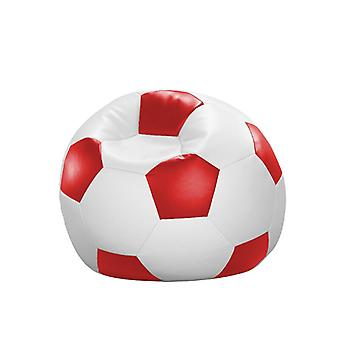 Bean bag cushion football red and white leatherette 90 x 90 x 90 cm
