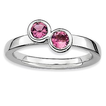 925 Sterling Silver Bezel Polished Rhodium-plated Stackable Expressions Db Round Pink Tourm. Ring - Ring Size: 6 to 10