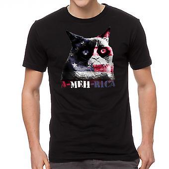 Grumpy Cat A Meh Rica mannen zwart grappig T-shirt
