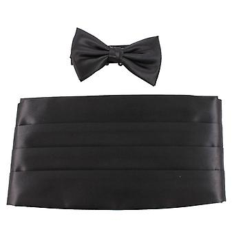 Knightsbridge Neckwear Bow Tie and Cummerbund Set - Black