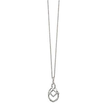 Elements Gold Diamond Openwork Drop Pendant - White Gold/Clear