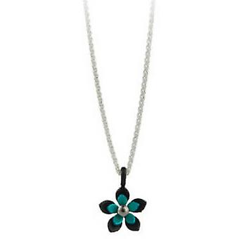 TI2 titanio nero indietro cinque petalo fiore pendente - Kingfisher blu