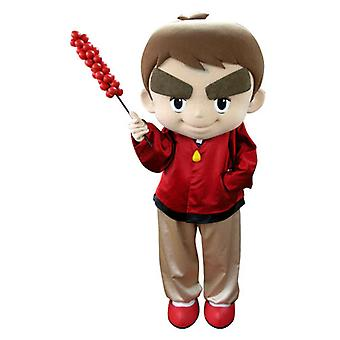 mascot SPOTSOUND boy dressed in red with big eyebrows