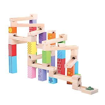 Bigjigs Toys Wooden Ball Fall Marble Run Play Set Tracks Game Blocks