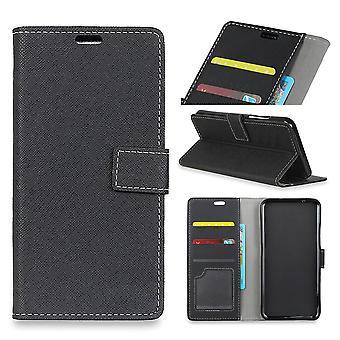 Sony Xperia XZ2 Premium Cross Textur Brieftasche Fall-Schwarz