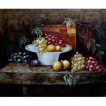 Hedelmät rypäleet persikat, öljy maalaus kankaalle, 50x60 cm