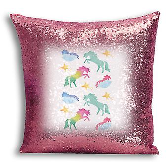 i-Tronixs - Unicorn Printed Design Rose Gold Sequin Cushion / Pillow Cover with Inserted Pillow for Home Decor - 7