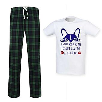 Mens I Work Hard So My Frenchie Can Have A Better Life Tartan Pyjamas
