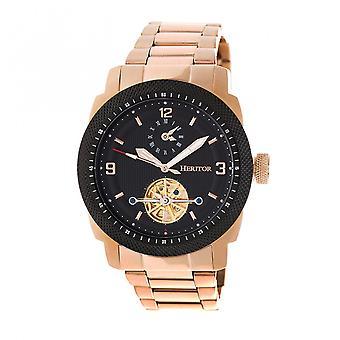 Reloj de pulsera semi esqueleto de Helmsley automático Heritor s - rosa oro/negro
