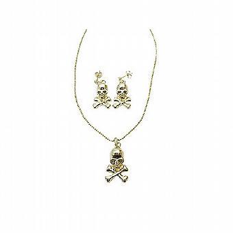 Set di gioielli orecchini di Halloween teschio oro testa ciondolo Post chirurgico