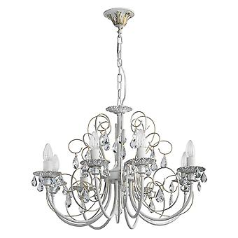 Glasberg - Matt White And Gold Eight Light Chandelier With Crystals 301015308