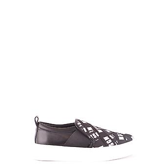 Msgm Ezbc016030 Damen's Schwarz Leder Slip Auf Sneakers