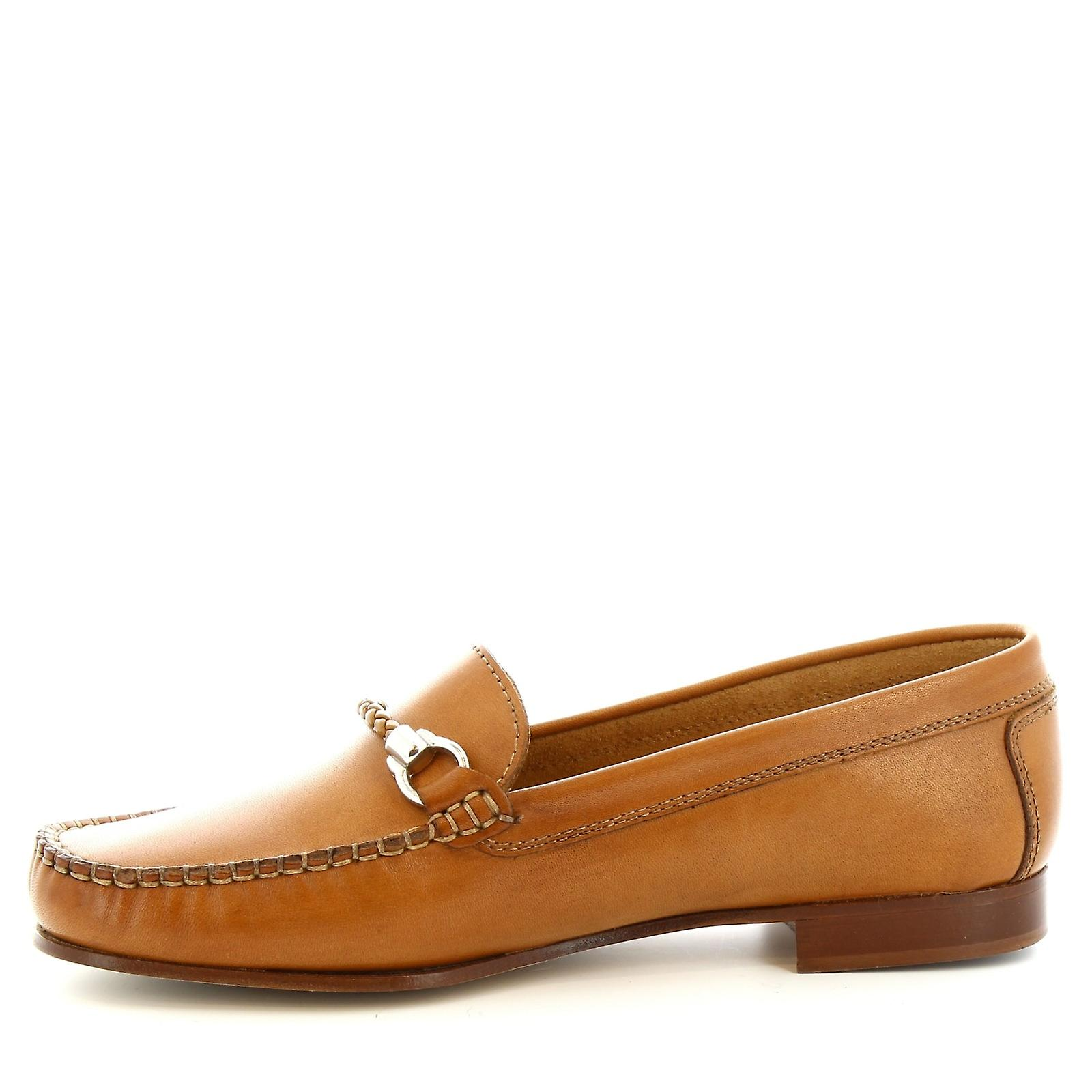 Mocassins à la main peu Leonardo chaussures féminines en veau beige