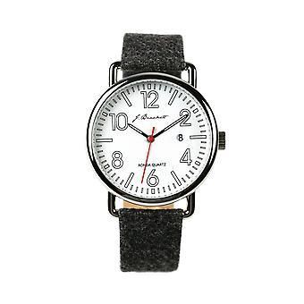J. Brackett Camden Leather-Band Watch w/Date - Grey/Red