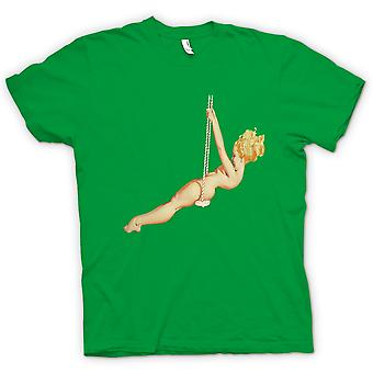 Mens T-shirt - Blonde on Swing - Pin Up