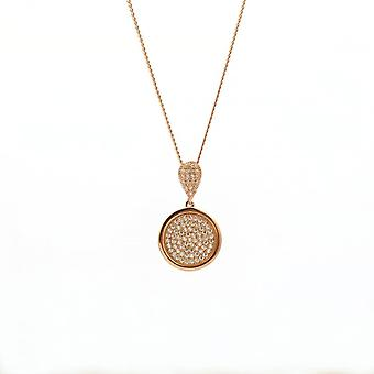 """Eternity Sterling Silver Rose Gold Plated Round Cubic Zirconia Pave Set Pendant And 18"""" Chain"""