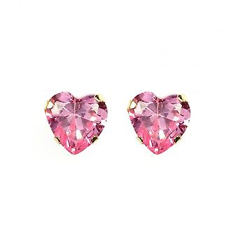 Eternity 9ct Gold Pink Cubic Zirconia Heart Stud Boucle d'oreille