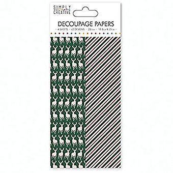 Simply Creative FSC Decoupage Paper Green Stag (SCDEC055X16)