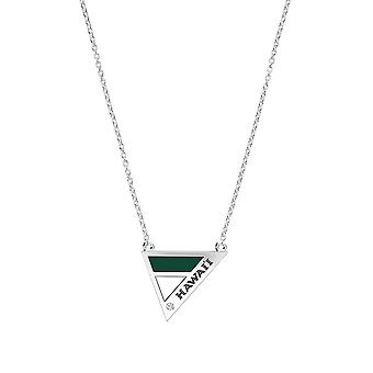 University Of Hawaii Engraved Sterling Silver Diamond Geometric Necklace In Green & White