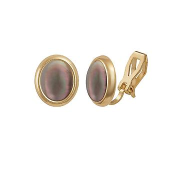 Eternal Collection Minuet Black Lip Mother Of Pearl Cabochon Gold Tone Clip On Earrings