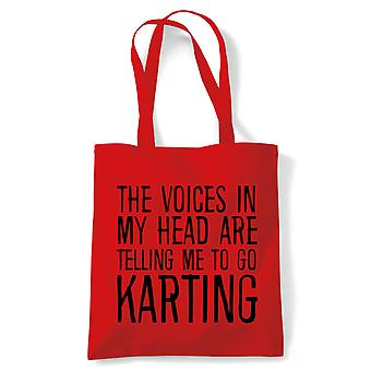 Voices In My Head Karting, Tote - Reusable Shopping Canvas Bag Gift