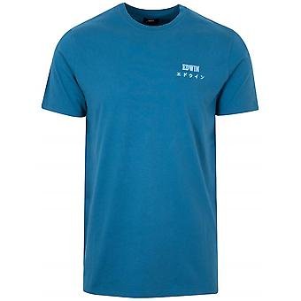Edwin Legion blå plagg tvättad T-shirt