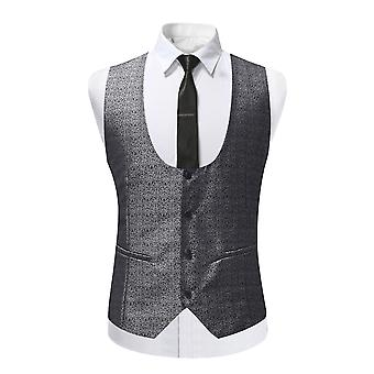YANGFAN Mens Slim Fit Printed Suit Vest Single Breasted U Neck Waistcoat