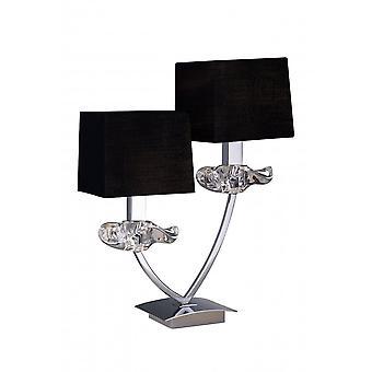 Mantra Akira tafel lamp 2 licht E14, gepolijst chroom met zwarte tinten