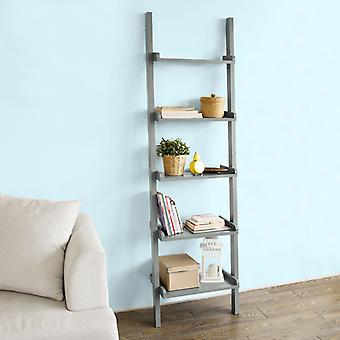 SoBuy Moderne 5 Tiers Leiter Regal Bücherregal, Lagerung Display Regal Wandregal, grau, FRG17-HG