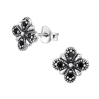 Bali Flower - 925 Sterling Silver Cubic Zirconia Ear Studs - W30083X