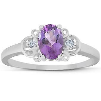 1 1 / 4ct ovaler Amethyst & Diamant-Ring 14K White Gold